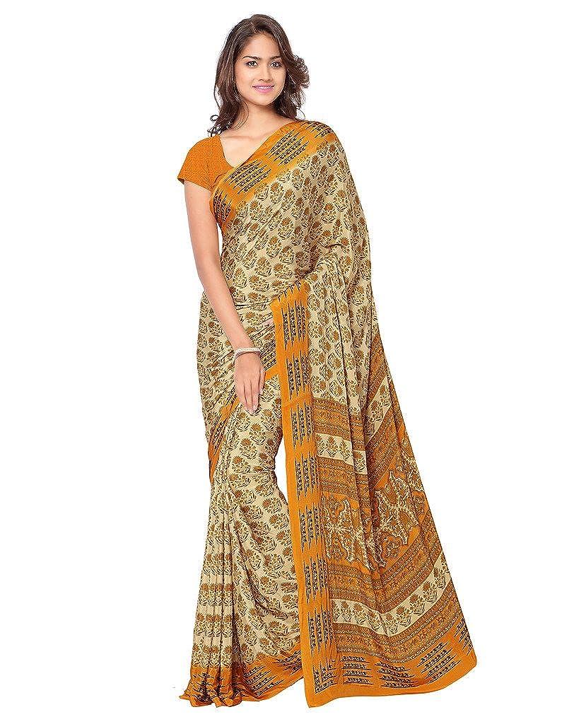 Ligalz Women's Silk Printed Saree with Blouse Piece - Silksaree_L0111321_Beige_Free Size