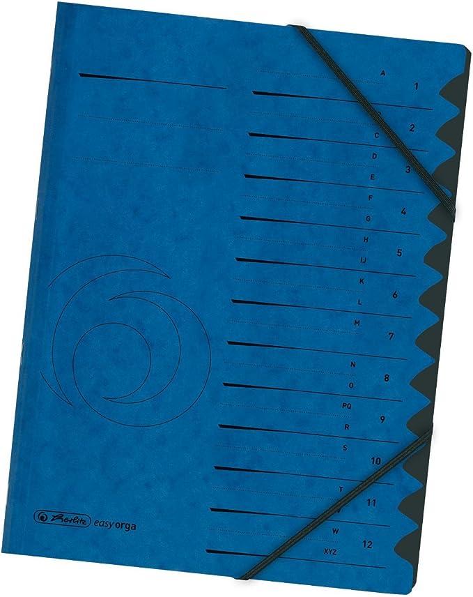 herlitz Ordnungsmappe easyorga A4 Karton 12 Fächer GRÜN Sammelmappe Eckspanner