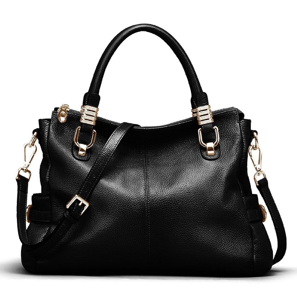 Kattee Womens Genuine Leather Handbag Urban Style Shoulder Tote Satchel Bag Black