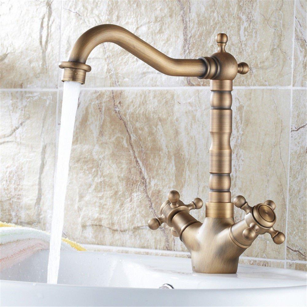 Tradition Küche Wasserhahn Küche Waschbecken Waschtisch Armatur mit Warm- und Kaltwasser, massiv Messing Waschbecken Armatur Spüle Tippen