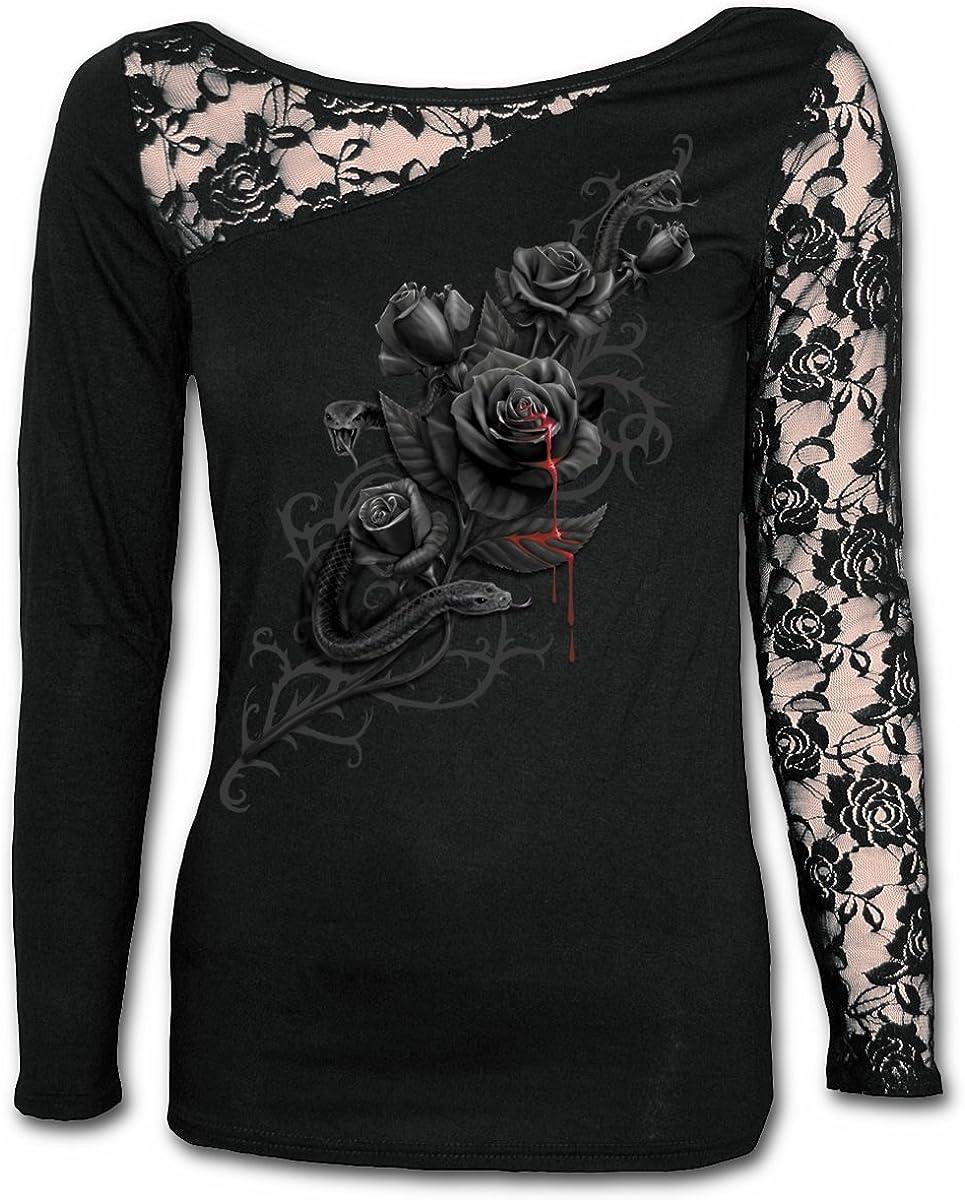 Spiral Direct Fatal Attraction-Lace One Shoulder Top Black Camisa Manga Larga para Mujer