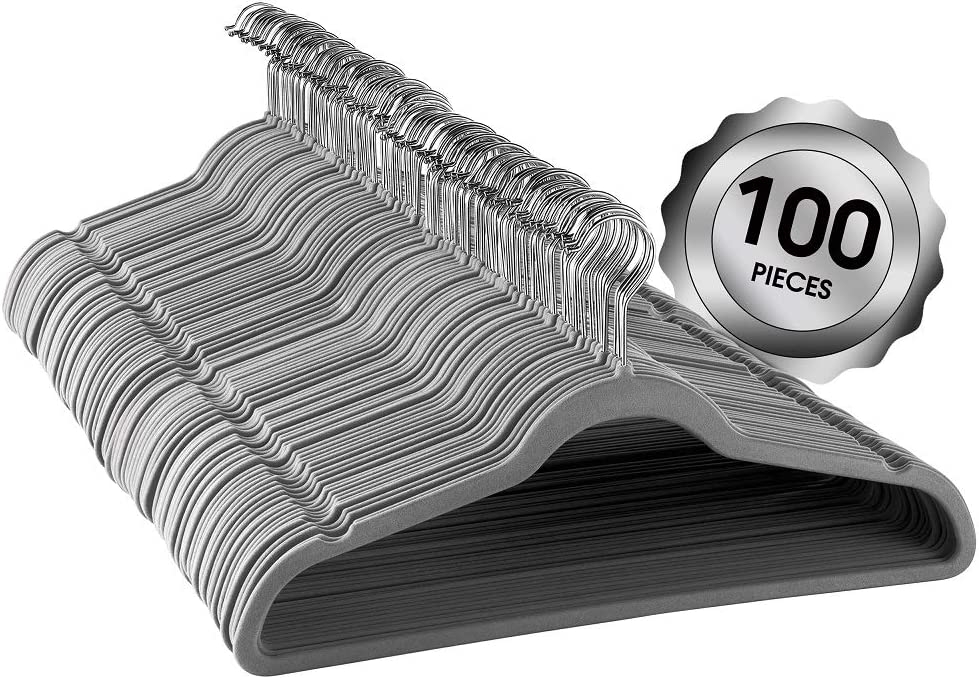 Elama Home ELH100GREY 100 Piece Set of Velvet Slim Profile Heavy Duty Felt Hangers with Stainless Steel Swivel Hooks in Gray, Grey