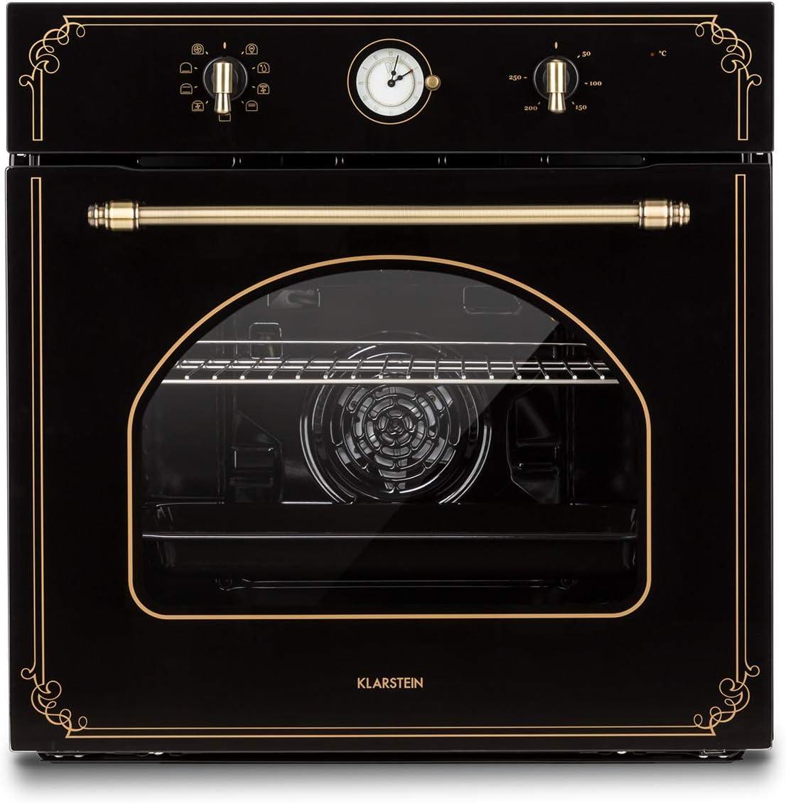 Klarstein Victoria Horno de cocina - Horno eléctrico, Diseño retro, 9 funciones, Autoapagado, 50-250°C, 70 litros, 10 alturas, Fácil de limpiar gracias a su apertura, Iluminación, Negro