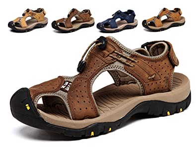 Sports Sandals Athletic Outdoor Men Fisherman Beach Leather Casual Shoes Breathable Leather Strap Hiking