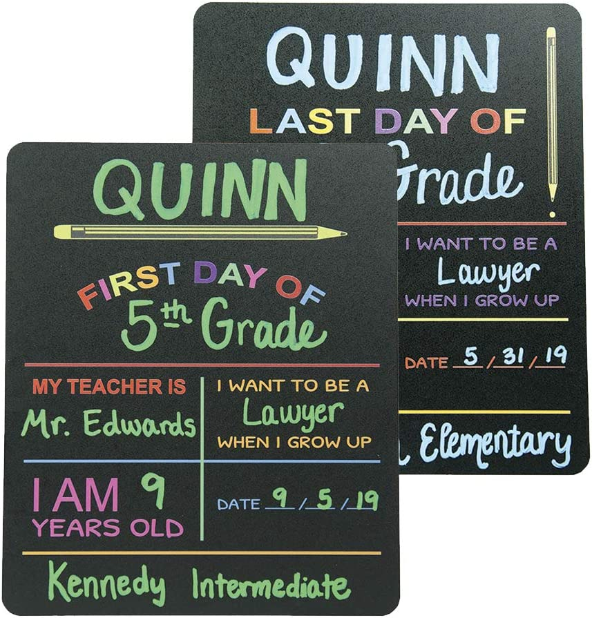 """Custom Product Solutions Reusable First & Last Day of School Chalkboard Sign. Photo Prop Board, Black w/color print - 12"""" x 10"""" rectangle set of 2"""