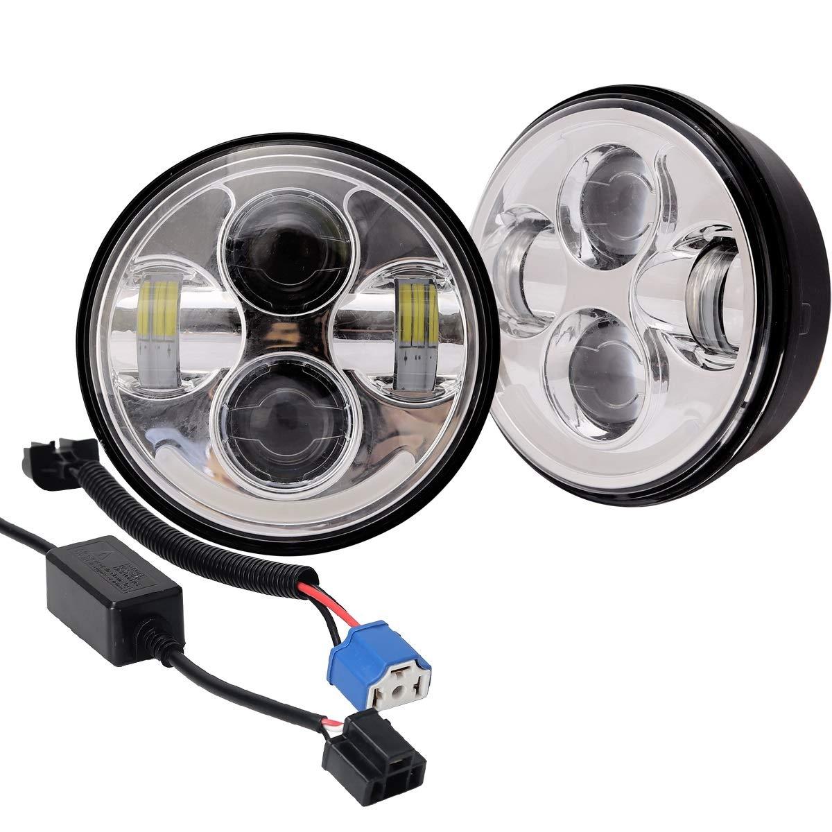 Man hongjia 5.75'' Round Black LED Headlight with High Low Beam White DRL Amber Turn Signal for Jeep Wrangler JK TJ LJ CJ Hummer (Style : DDL-5.7R-001)