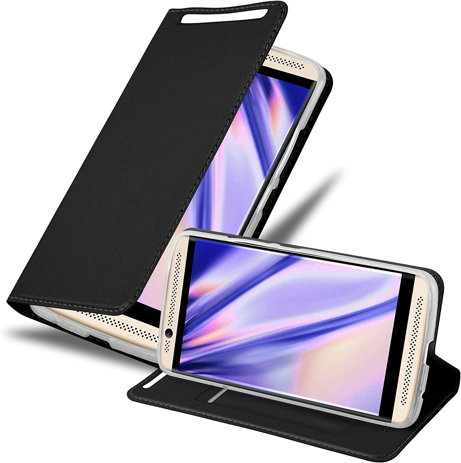 Cadorabo Book Case Works with ZTE Axon 7 in Classy Black - with Magnetic Closure, Stand Function and Card Slot - Wallet Etui Cover Pouch PU Leather Flip