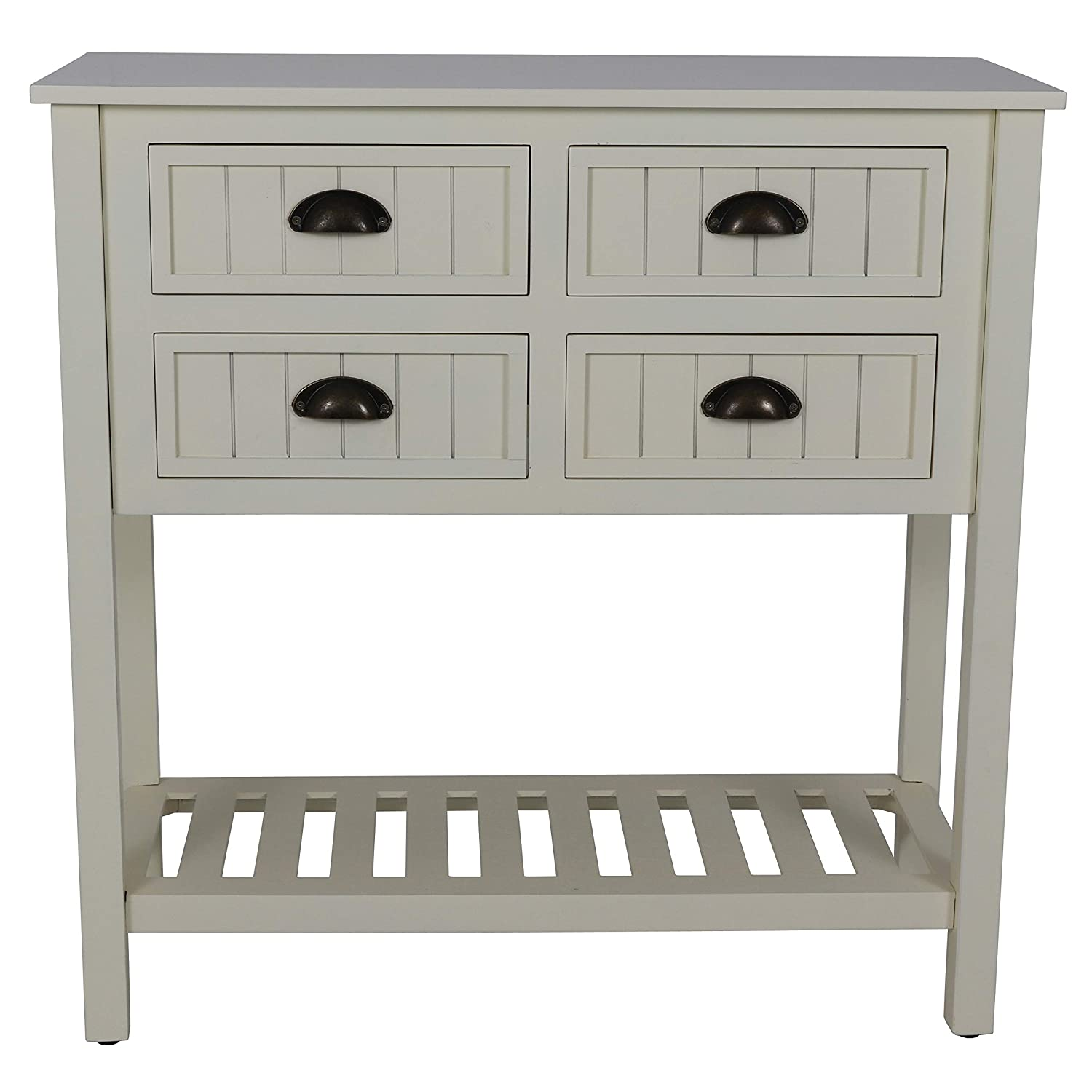 Decor Therapy FR8682 Bailey Bead Board 4-Drawer Console Table, 14x32x32, Antique White