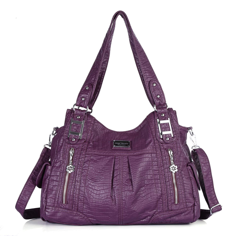 Handbag Hobo Women Bag Roomy Multiple Pockets Street Ladies' Top Handle Bag Fashion PU Tote Satchel Shoulder Bag (3095 9#Purple) by Angel Barcelo (Image #1)