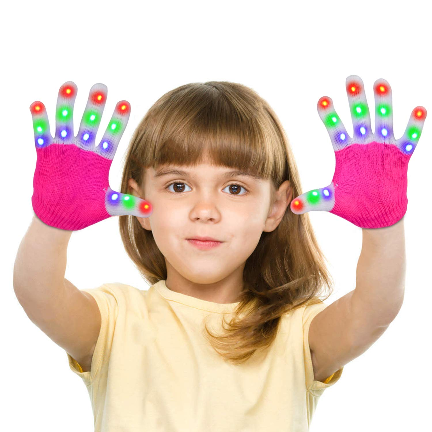 LED Gloves Yostyle Flashing Light up Gloving Colorful Fingers Gloves Sets Glow battery powered Best Gifts for Novelty Game Light Show Halloween Costume Rave Concert Birthday Party Favors,Gifts (Children Pink-6 Modes 3 Colors 15Hrs )