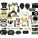 Veewon 2018 Nouvel An Parti Accessoires de cabine Photo 46 pcs Drôle DIY Kit Photobooth Props pour Nouvel An Eve Party Décoration Faveur