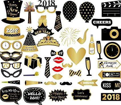 Amazon.com: Losuya 2018 New Year Party Photo Booth Props 46pcs Funny ...