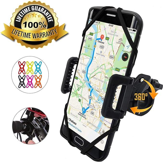 Sizet Bike Phone Mount Detachable,360 Rotating Handlebar Phone Holder,Silicone Adajustable Bicycle Handlebar Cradle for iPhone Android