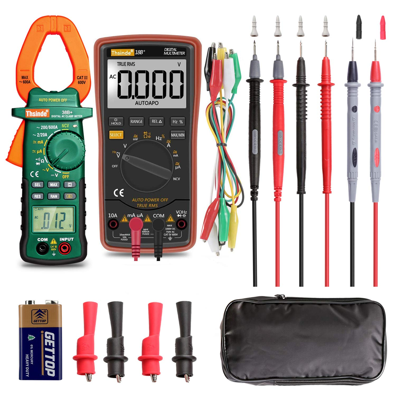 Auto Ranging Digital Multimeter and Clamp Meter - with Storage Bag Battery Alligator Clips Test Leads for AC/DC Voltage/Current Voltage Alert Amp Ohm/Volt Multi Tester Diode