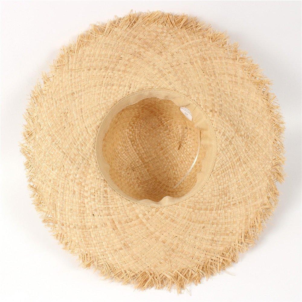 HUACHEN-CHAO 11 CM Large Bord Raphia Paille Chapeau D/ét/é Femmes Lady Plage Sun Hat pour Queen Tassel d/ôme Seaside Trave Seau Garland Sunbonnet Chapeaux de Plein air