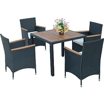 HG® 4 pièces Salon de jardin Ensemble Chaise Table Fauteuil | Poly ...