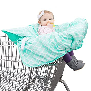 2 in 1 Baby Seat Cushion Pad /& Germ Protector Shopping Cart /& High Chair Cover