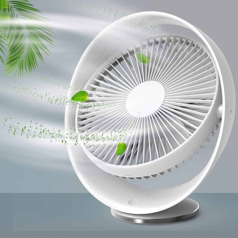 RATEL Ventilador de Escritorio silencioso de 8 Pulgadas, Ventilador de enfriamiento Recargable USB, Viajes de Oficina en el hogar al Aire Libre, Ajustable en 3 velocidades, rotación de 60 °