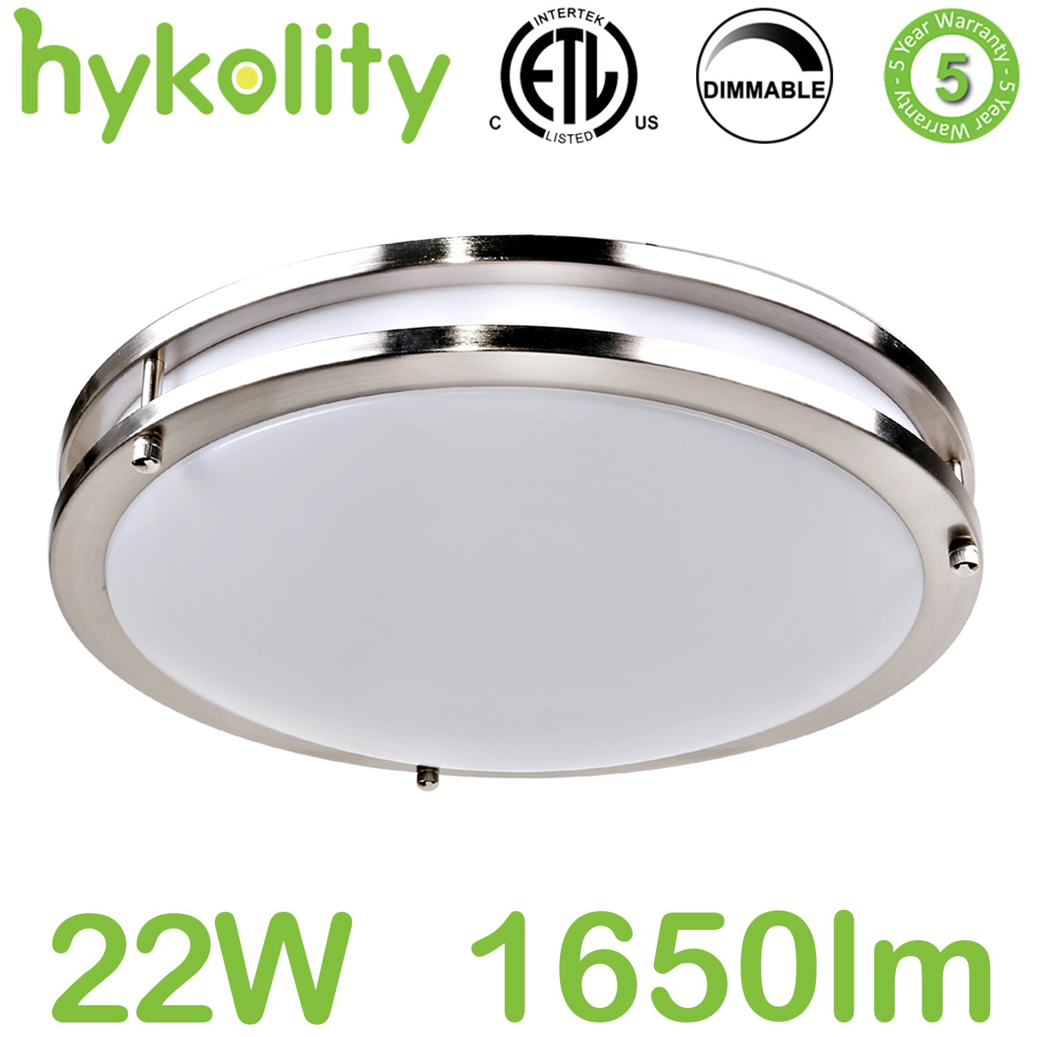 Hykolity 14 inch LED Ceiling Light, 22W [160W Equivalent] 1650lm 4000K BN Finish Dimmable Saturn Flushmount Ceiling Light for Bedroom, Restroom, Walk in Closet, Washroom, Living Room
