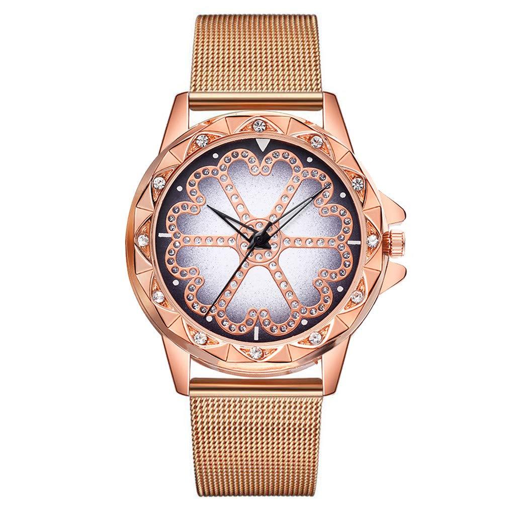 JDgoods Fashion Leisure Waterproof Wrist Watch Lucky Flower Rhinestone Flickering Quartz Watches Steel Strip Rhinestone Lady Watches (Gold)