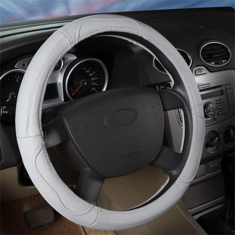 SFONIA Car Steering Wheel Cover Steering Wheel Protector Genuine Leather Universal 37-38cm 15 Anti-slip Breathable Durable Grey