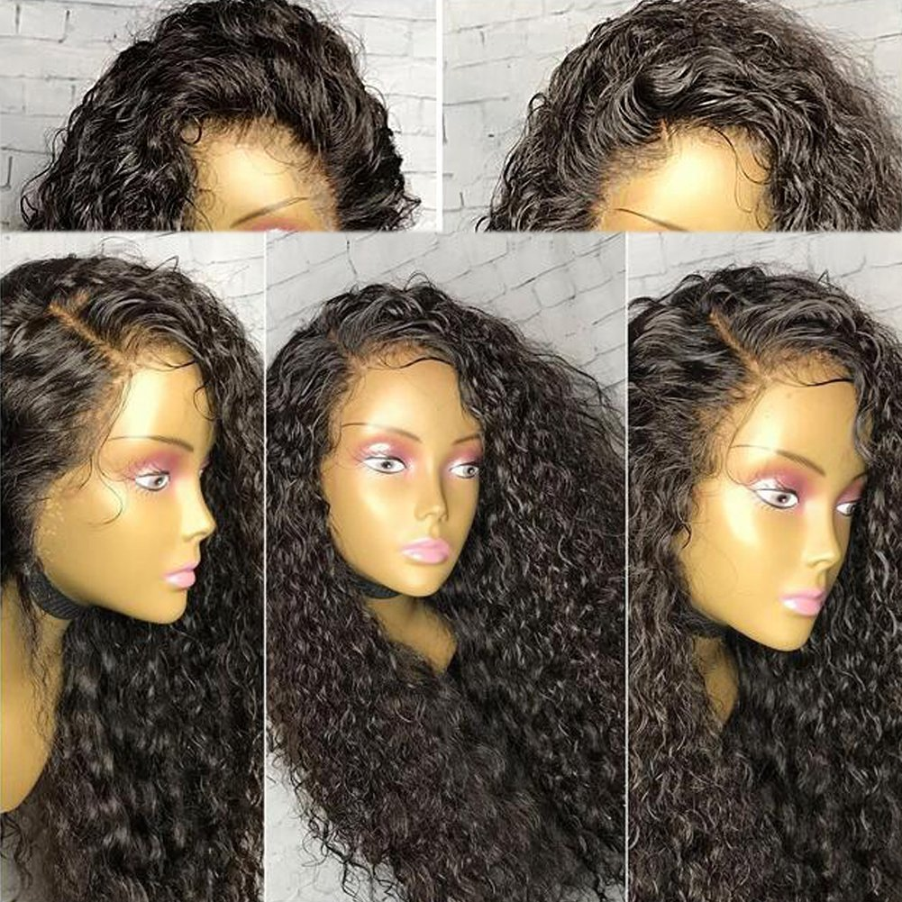 Warma Hair Kinky Culry Full Lace Human Hair Wig Natural Color Brazilian Virgin Hair Lace Front Wig For Black Women (14 inch, Lace Front Wig)