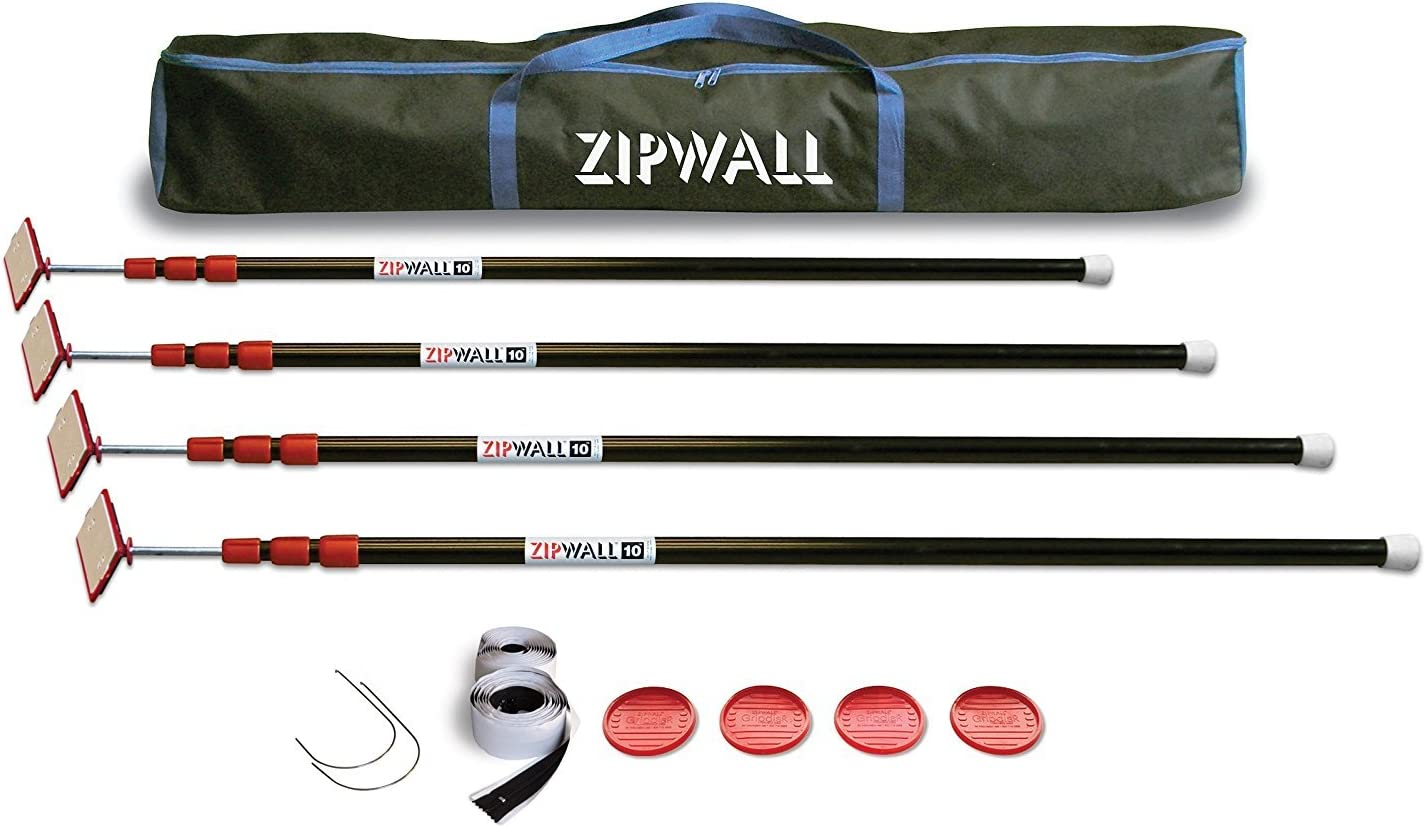 ZipWall Available ZipPole 10' Spring-Loaded Poles for Dust Barriers, 4-Pack, ZP4, (Pack of 4), Black - Zipwall System -