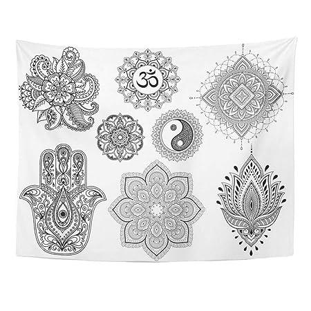 Tapiz de pared grande de Mehndi flor Mandala Mantra Om Yin Yang ...
