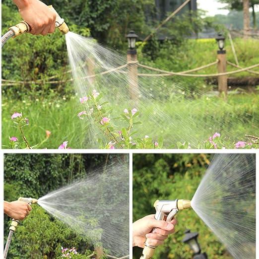 Yueser Pistola de Pulverización de Manguera de Jardín Agua de Alta Presión Resistente Ajustable de Chorro a Spray con Botella de Espuma para Limpieza de Automóvil Riego del Césped: Amazon.es: Jardín