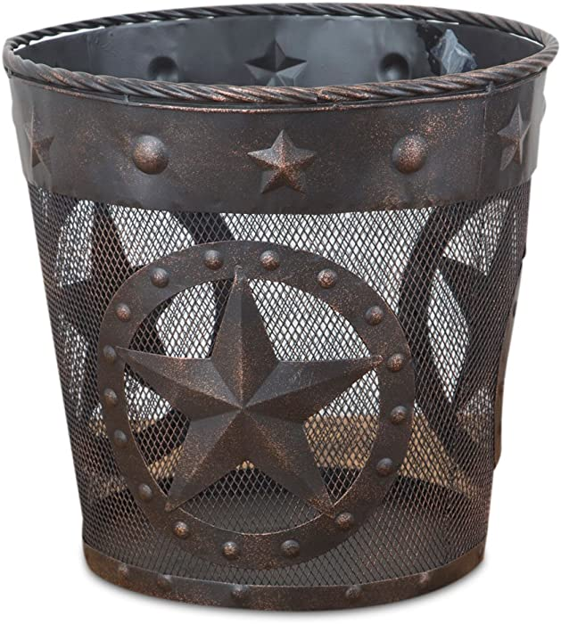DeLeon Collections Western Star, Rope Trim Metal Wastebasket
