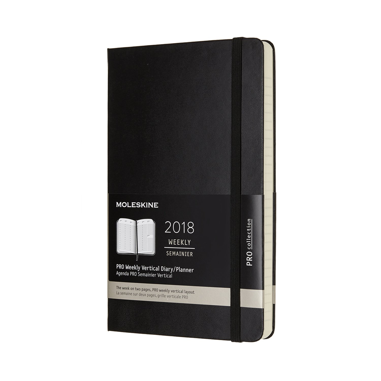 Moleskine 12 Month Pro Weekly Vertical Planner, Large, Black, Hard Cover (5 x 8.25)