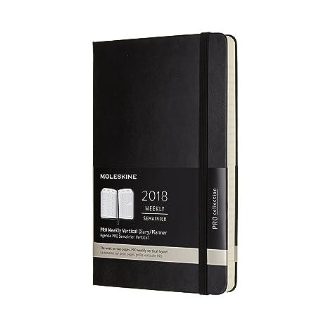 Moleskine 12 Month Pro Weekly Vertical Planner, Large, Black, Hard Cover (5 x 8.25)