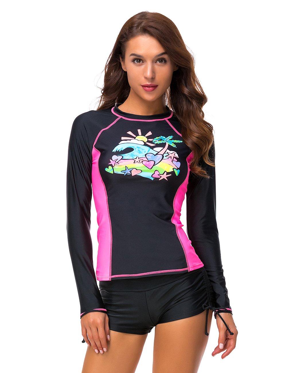 iDrawl Damen Rash Guard UV Schutz Langarm Schwimmshirt UPF 50+ Badeshirts