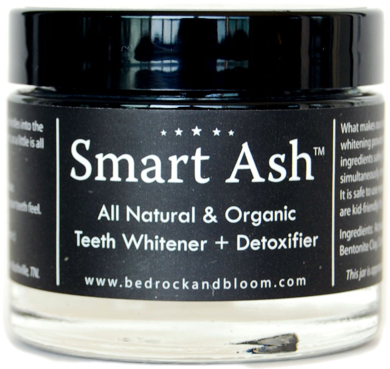 Smart Ash Organic All Natural Whitening Tooth Powder for Sensitive Teeth with Activated Charcoal & Bentonite Clay By Bedrock & Bloom, Whitener, Desensitizing, Toothpaste Alternative (5)