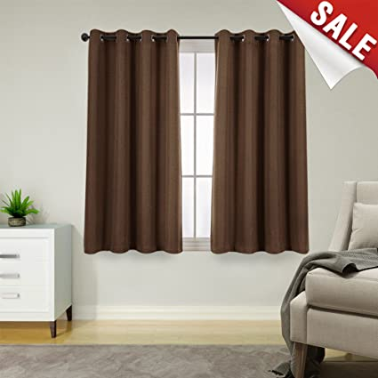 Amazoncom 45 Inch Brown Curtains Blackout Bedroom Living Room