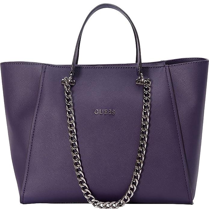 e913e95e13 Guess Sac Nikki Chain Tote Saffiano Aubergine: Amazon.co.uk: Shoes & Bags