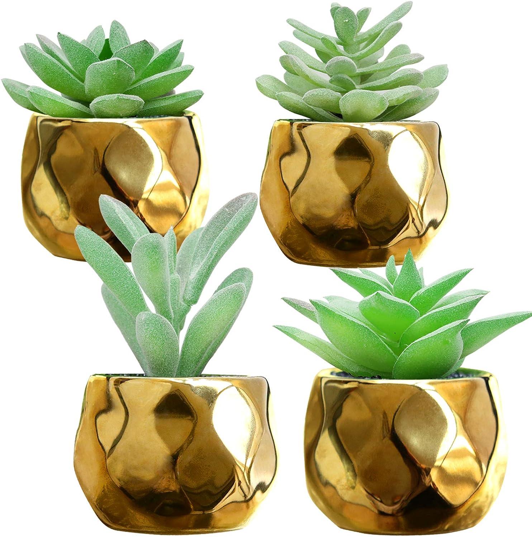 4 Artificial Succulents Plants Set in Golden Ceramic Pots for Indoor Decor,Mini Fake Succulents,Assorted Faux Plants Potted for Bathroom HomeOffice Desk Badroom Window Sills Shelf Decorations