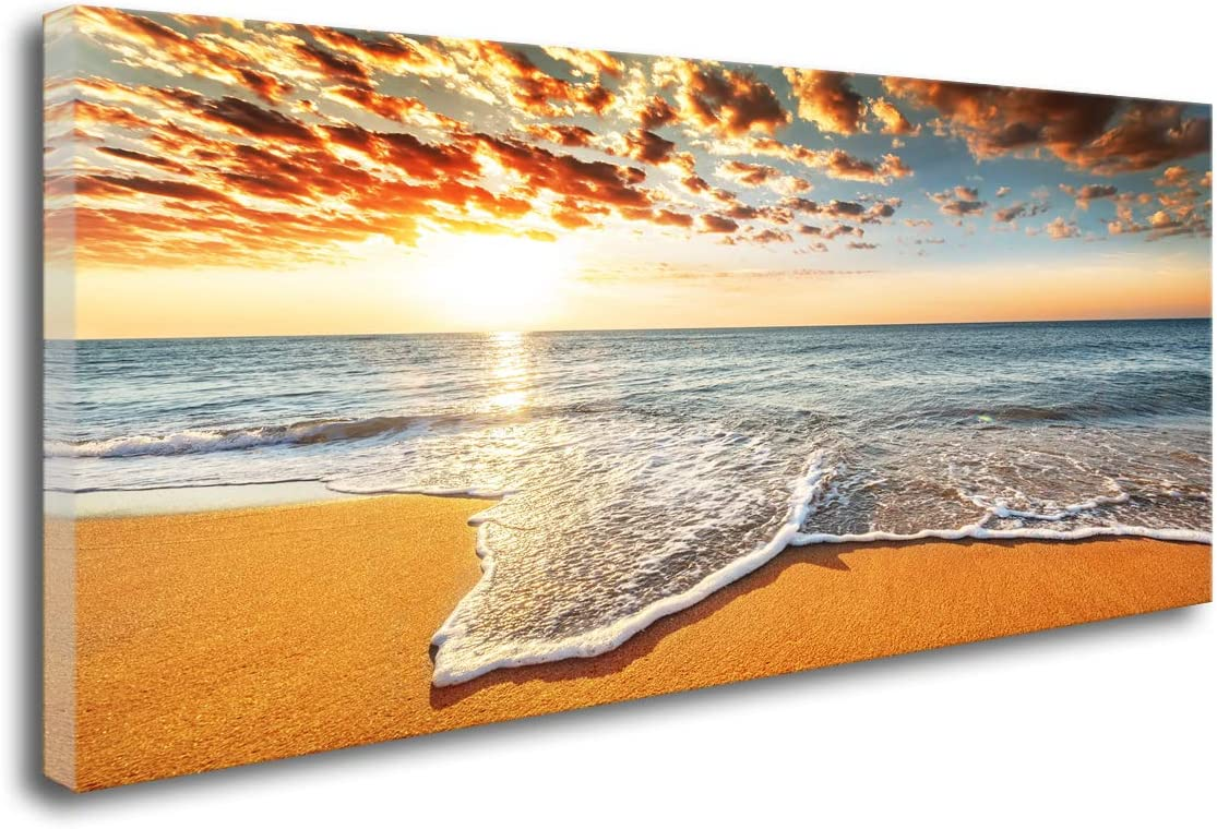 DZL Art S74462 home decor Wall Art Decor Sunrise Beach Painting Nature Pictures Ocean Waves Artwork Large Canvas Print Waves Scenery Painting Artwork for Office Wall Decor Home Decoration
