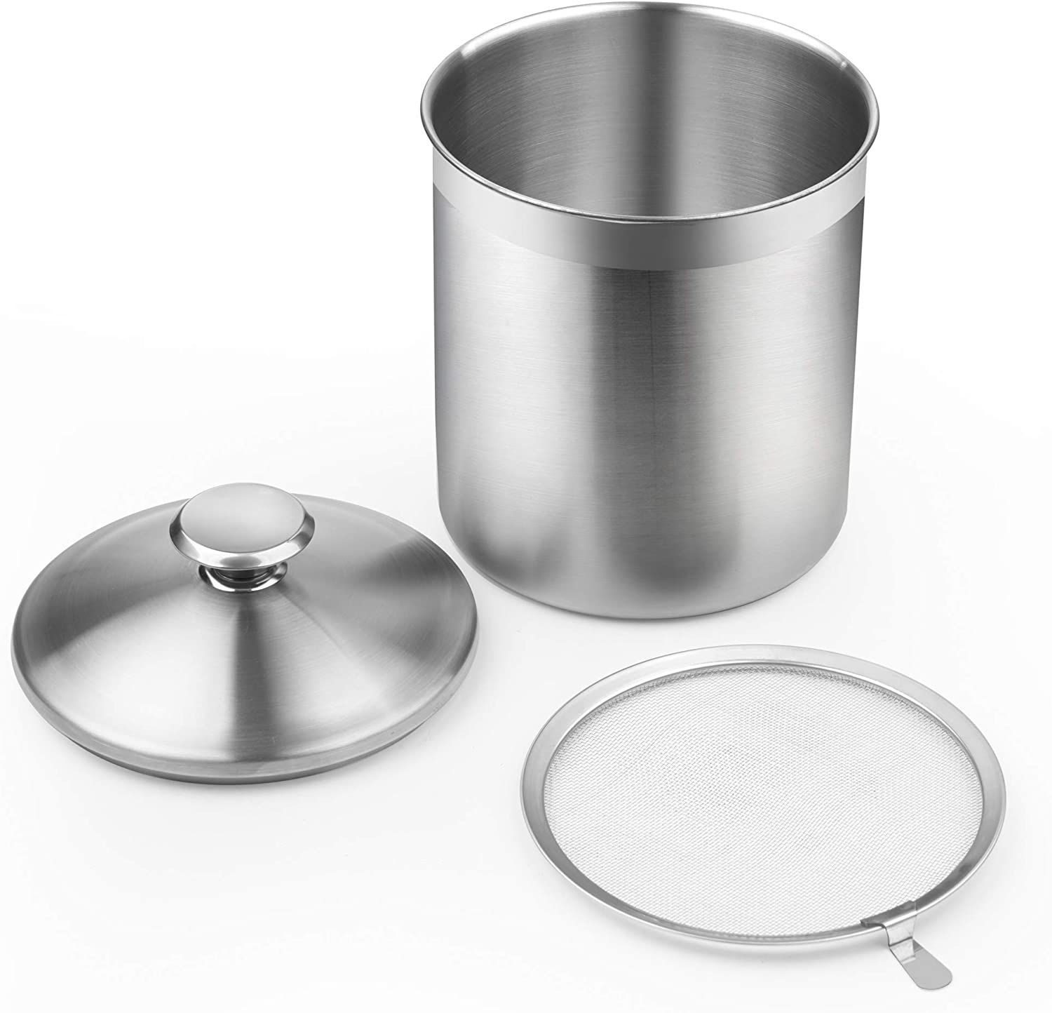 Silver Cook N Home 02651 Stainless Steel Oil Grease Storage Can with strainer 3.5 quarts