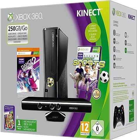 Xbox 360 - 250 GB, Incluye Sensor Kinect, Adventure, Kinect Sports, Dance Central 2 Y Un Mes De Live: Amazon.es: Videojuegos