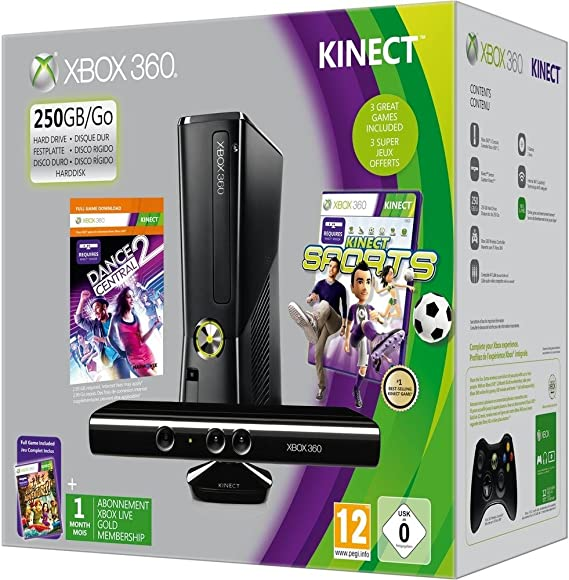 Xbox 360 - 250 GB, Incluye Sensor Kinect, Adventure, Kinect Sports, Dance Central 2 Y Un Mes De Live: Amazon.es: Videojuegos