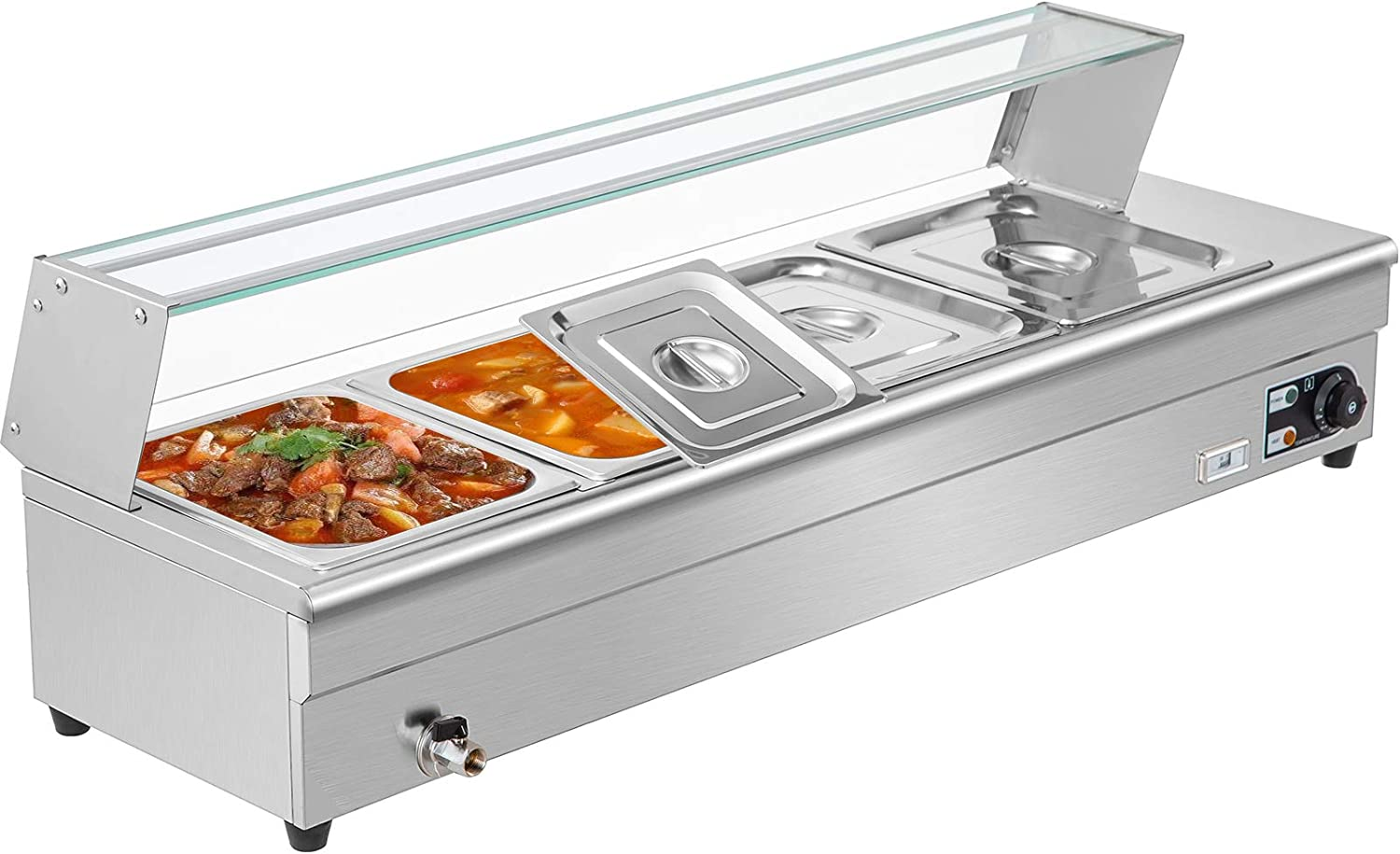 VEVOR 4-Pan Bain Marie Food Warmer 6-Inch Deep, 110V Food Grade Stainelss Steel Commercial Food Steam Table