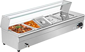 VEVOR 4-Pan Bain Marie Food Warmer 6-Inch Deep, 110V Food Grade Stainelss Steel Commercial Food Steam Table, 1500W Electric Countertop Food Warmer 44 Quart with Tempered Glass Shield