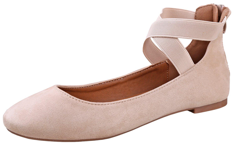 ANNA Dana-20 Women's Classic Ballerina Flats with Elastic Crossing Straps (8.5 B(M) US, Beige)