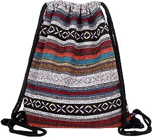 Van Caro Bohemian Drawstring Backpack Light Cinch Bag Gym Sack String Bag (Color 2)