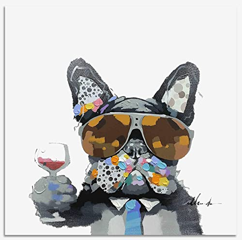 Bignut Art Oil Painting Hand Painted Funny Animal Wine and Dog Cool Wall Art on Canvas Framed Wall Decor for Living Room Bedroom Office 24×24 Inches, Wine Dog