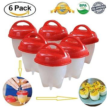 GbaoY - 6 moldes de huevo para cocinar huevos duros y suaves, sin funda, silicona antiadherente, color rojo: Amazon.es: Hogar