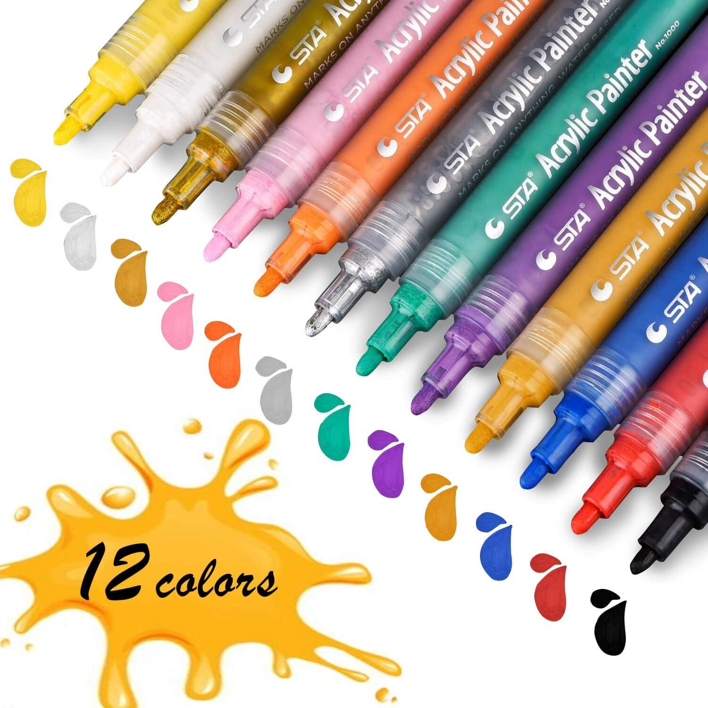 Rotuladores Permanentes, STA Marcadores de Pintura acrílica 12 Colores Punta Mediana No Tóxicos para Pintar sobre Papel, Piedra, Madera, Cerámica, Metal, y Huevos de Pascua
