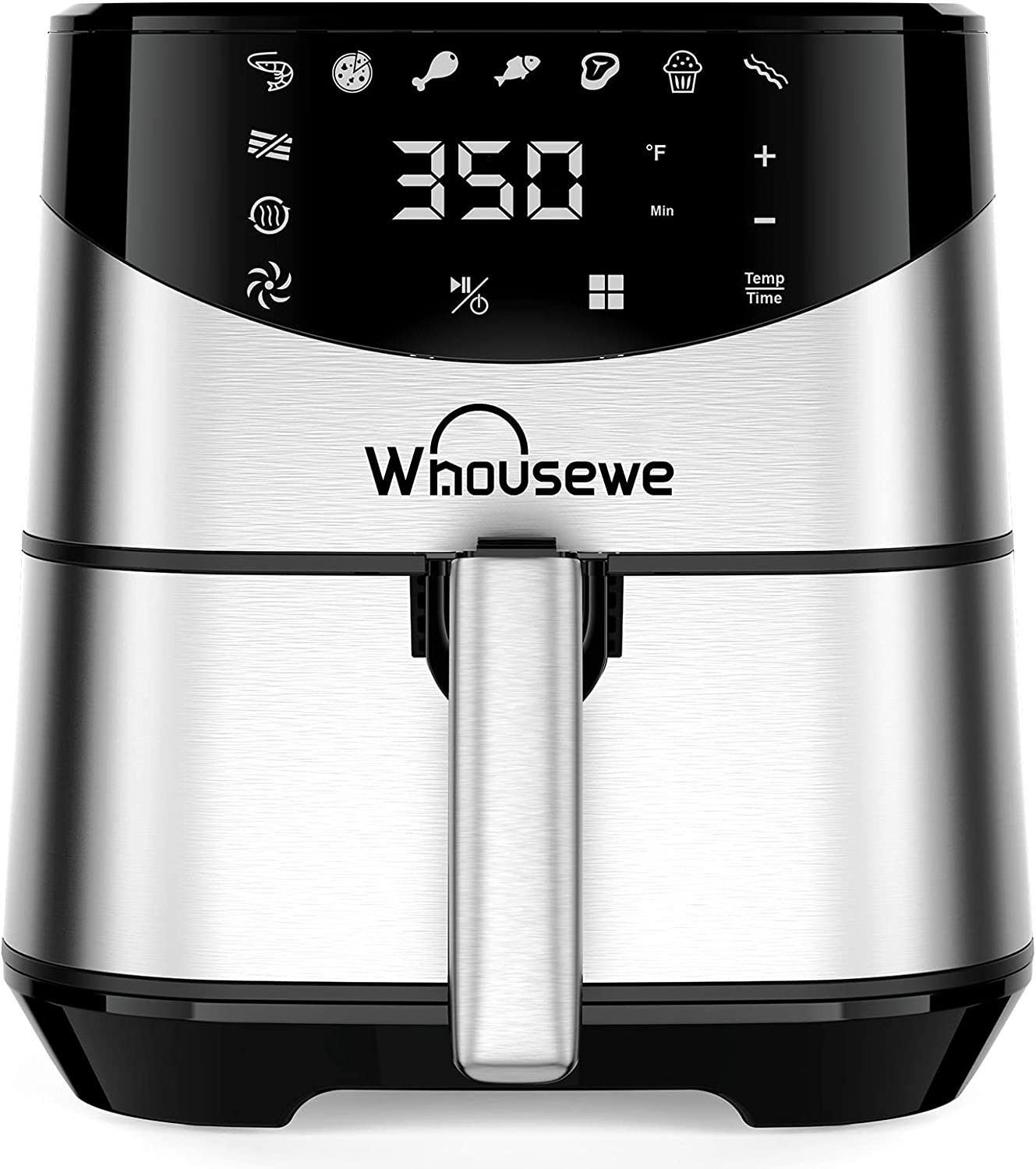 Whousewe Air Fryer, Large XL 5.8 QT Electric Hot Oven Oilless Cooker LED Touch Screen with 8 Preset Menus and 32 Recipes for Roast, Dehydrate & Bake, Auto Shutoff, Black