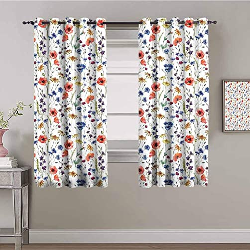 House Decor Decor Living Room Curtains 2 Panel Sets Wildflowers Poppy Chamomile Cornflowers Daisies Countryside Fun Illustration Room Darkened W84 x L84 Inch